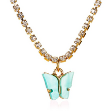Load image into Gallery viewer, Blue Butterfly Diamond Necklace