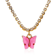 Load image into Gallery viewer, Pink Butterfly Diamond Necklace