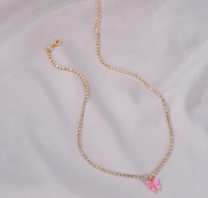 Pink Butterfly Diamond Necklace