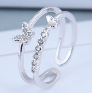 Silver Diamond Butterfly Ring