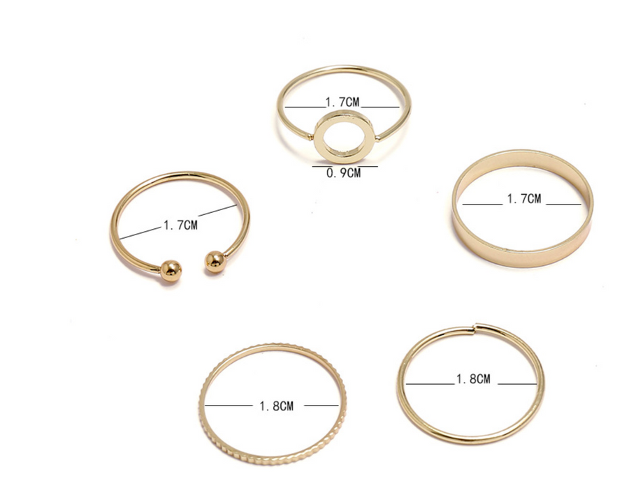 5 Piece Simplistic Gold Ring