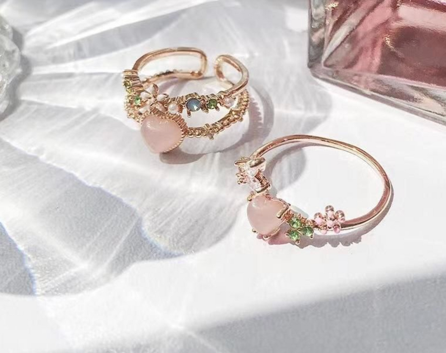 Pink Rose Gold Heart Ring Duo