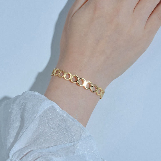 Stainless Steel Gold Hollow Bracelet