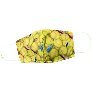 Softball Face Mask Face Covering Yellow Bats