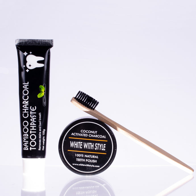 Bamboo Charcoal Toothpaste with Bamboo Toothbrush & Activated Charcoal Polish