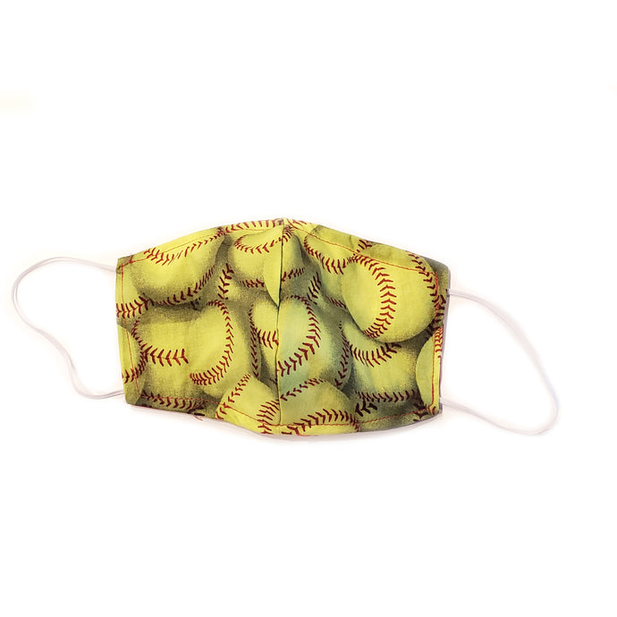 Softball Print Face Mask Covering in Yellow