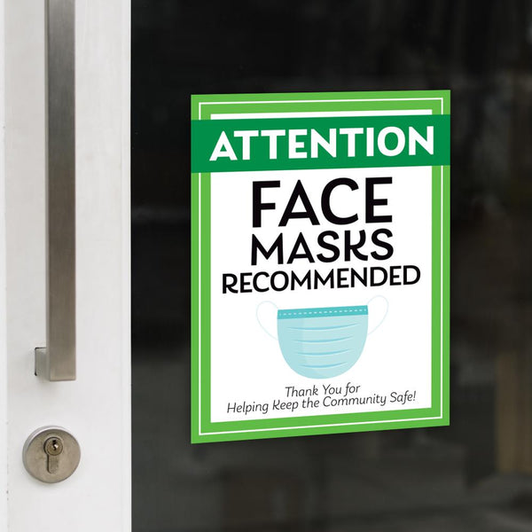 Face Masks Recommended Decal