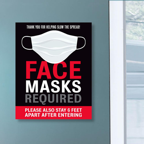 Face Masks Required & Six Feet Apart Decal