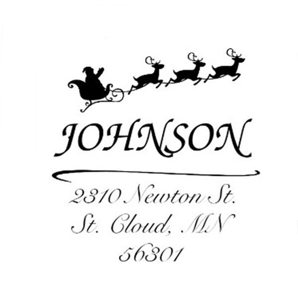 Santa Sleigh Address Stamp