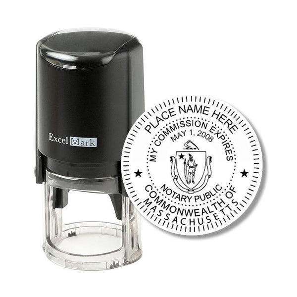 Round Self-Inking Massachusetts Notary Stamp