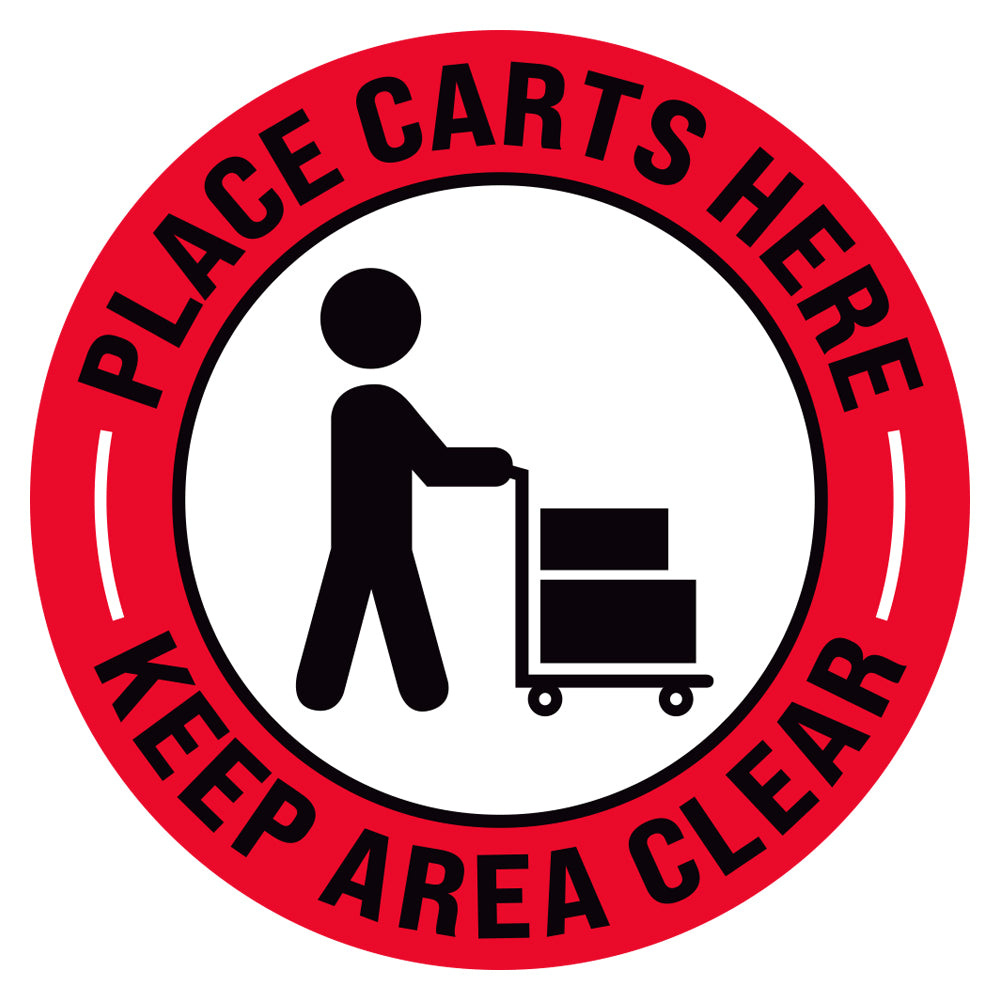 Place Carts Here Keep Area Clear Floor Decal