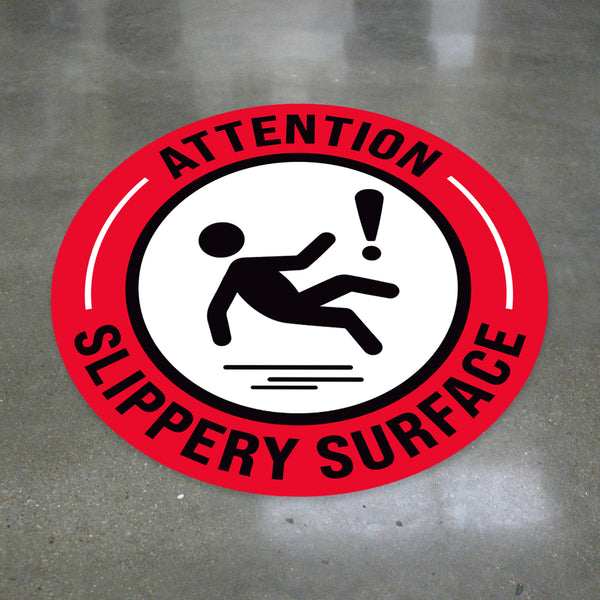 Attention! Slippery Surface Floor Decal