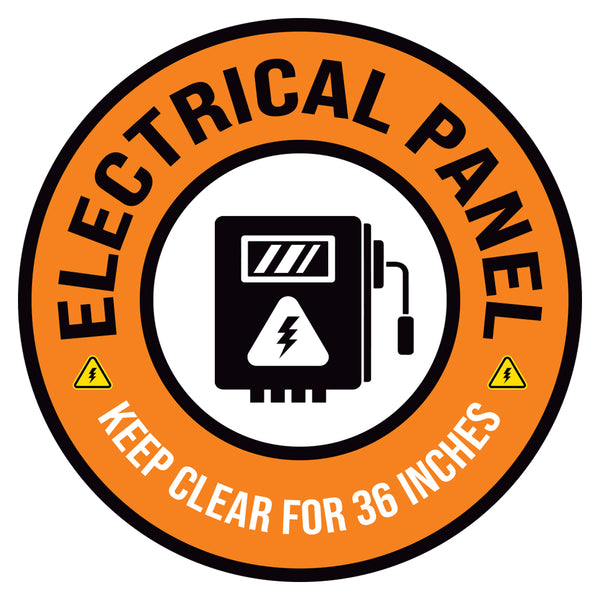 Orange Electrical Panel Keep Clear 36 Inches Floor Decal