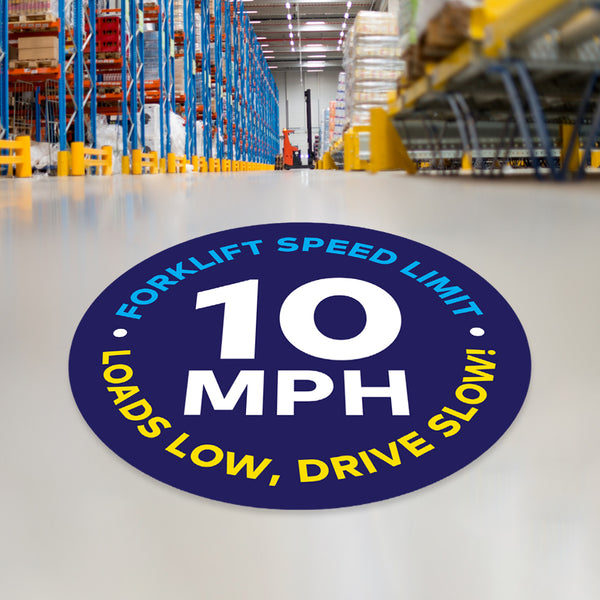 Forklift Speed Limit 10 MPH Floor Decal