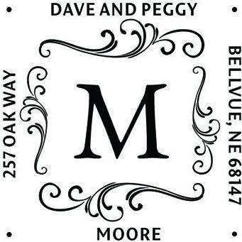 Swirl Square Monogram Address Stamp