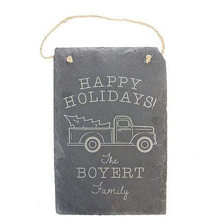 Happy Holidays Truck Engraved Slate Sign