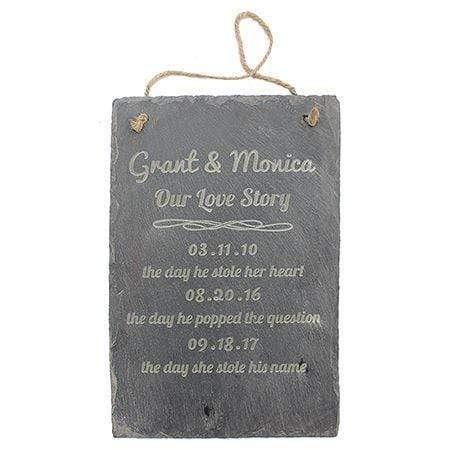 Love Story Engraved Slate Sign