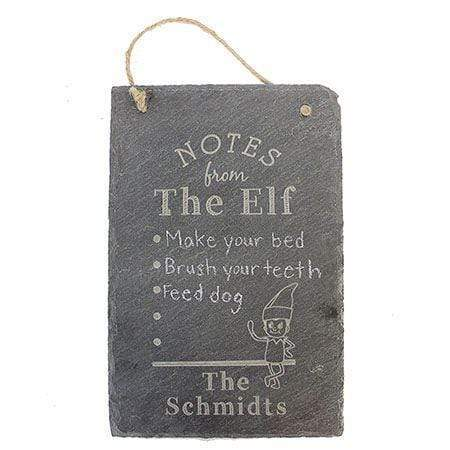Notes From The Elf Engraved Slate Sign