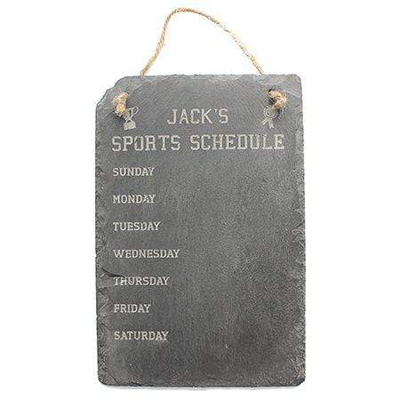 Sports Schedule Engraved Slate Sign