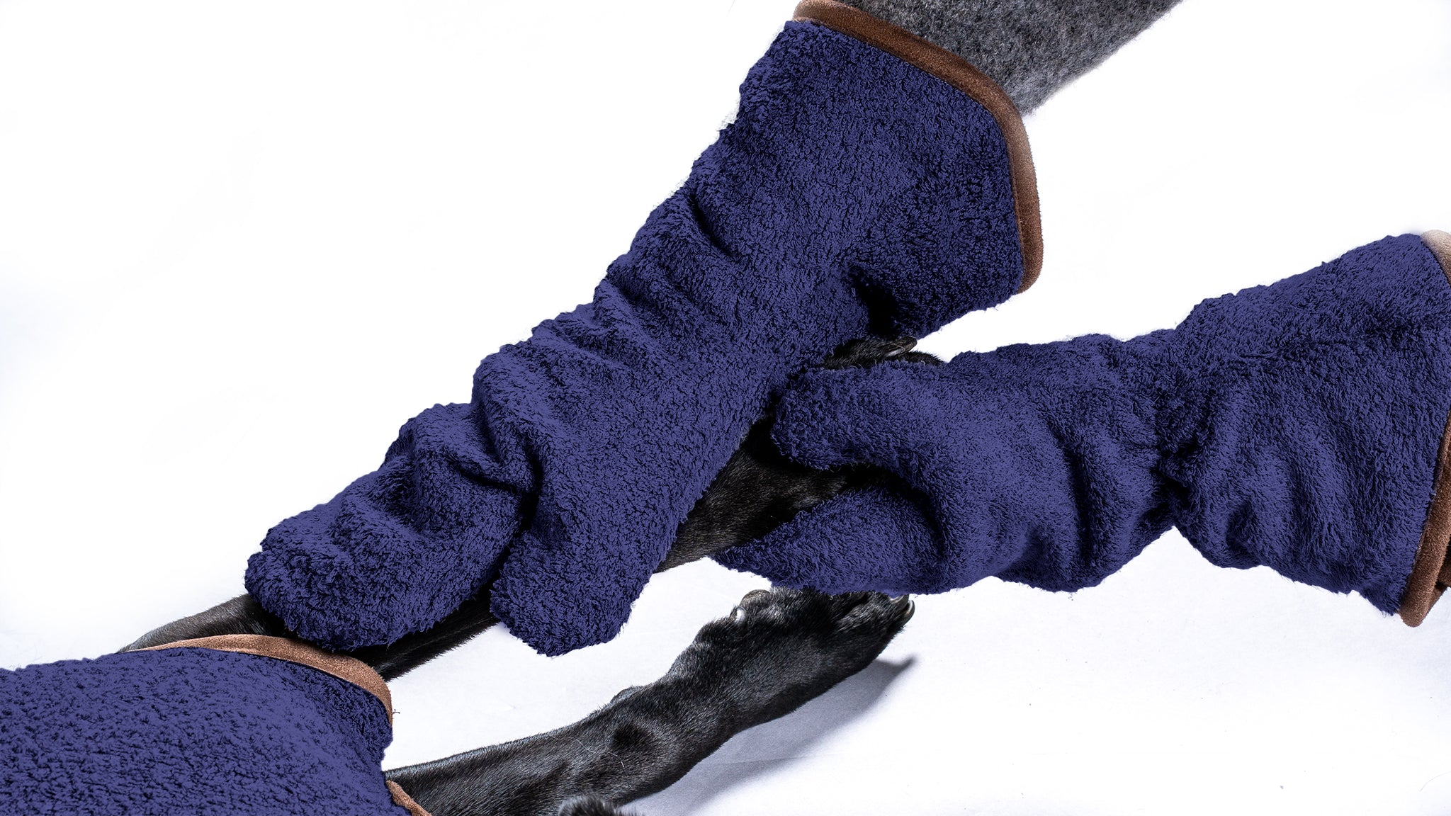 Bamboo Drying Mitts - Navy - Shop Bamboo Dog Drying Coats, bed covers, drying mitts & throw Online!