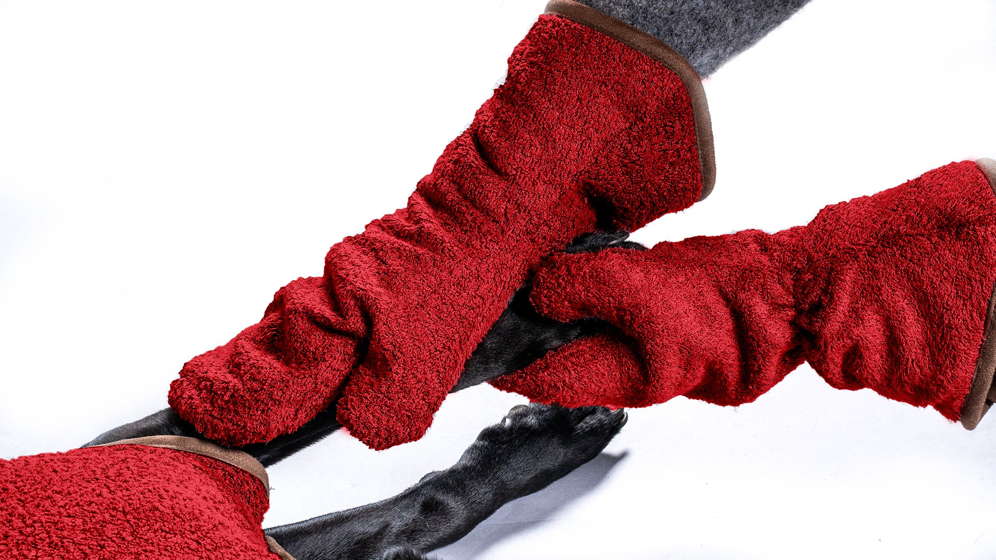 Bamboo Drying Mitts - Red - Shop Bamboo Dog Drying Coats, bed covers, drying mitts & throw Online!