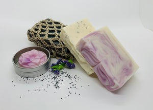 Bubble Box includes 3 organic soaps with essential oils, organic Soap Sock and Lotion Bar