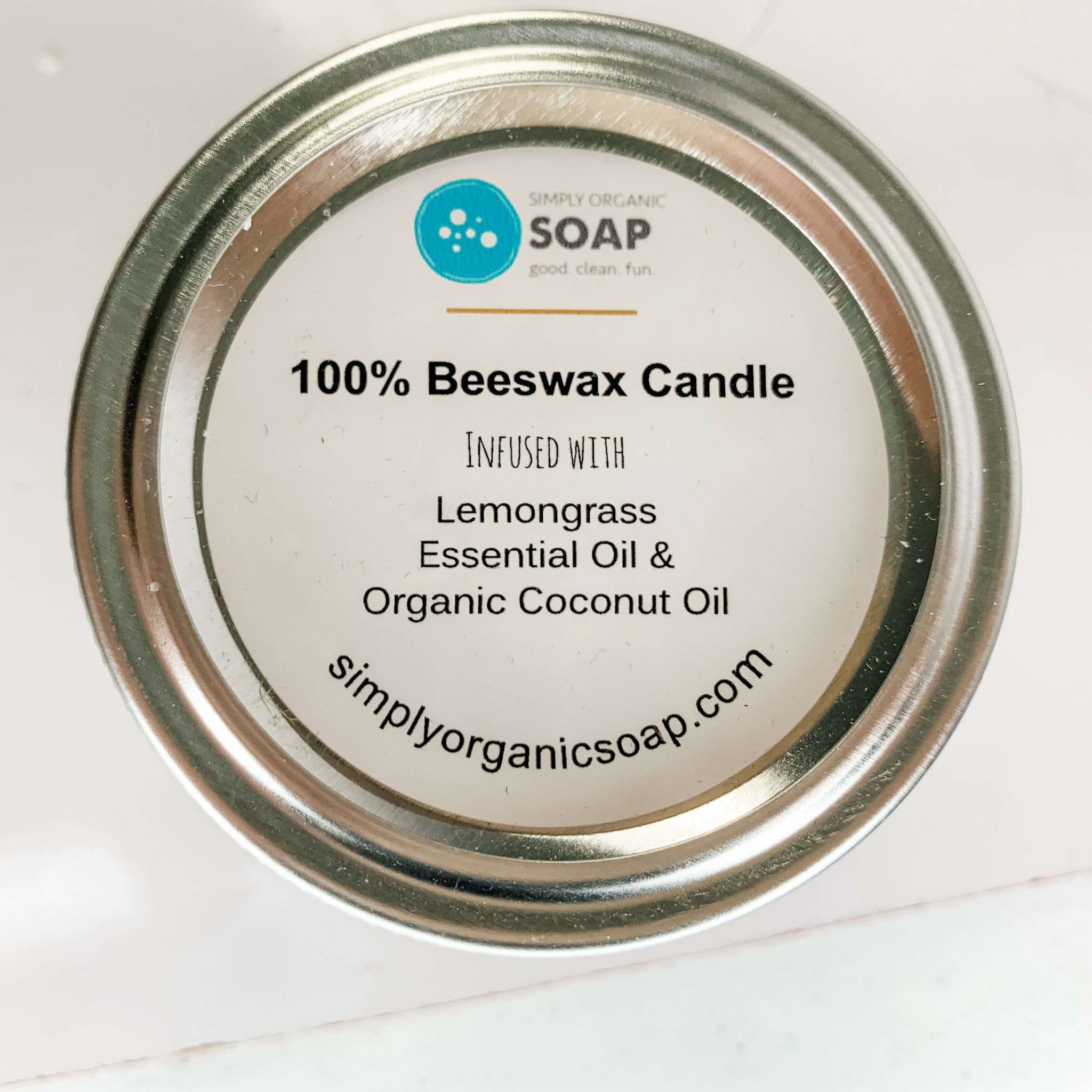 Mason Jar 100% Beeswax Candle & Lemongrass EO