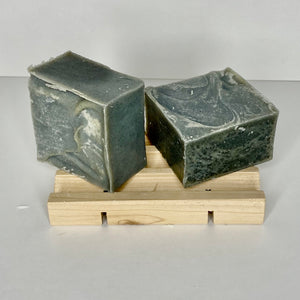 Charcoal Guest Soap with activated Charcoal on a cedar soap dish
