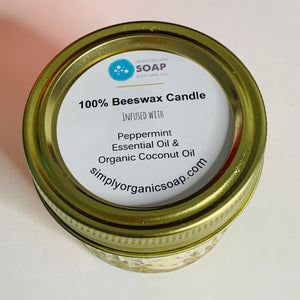 Mason Jar 100% Beeswax Candle & Peppermint EO