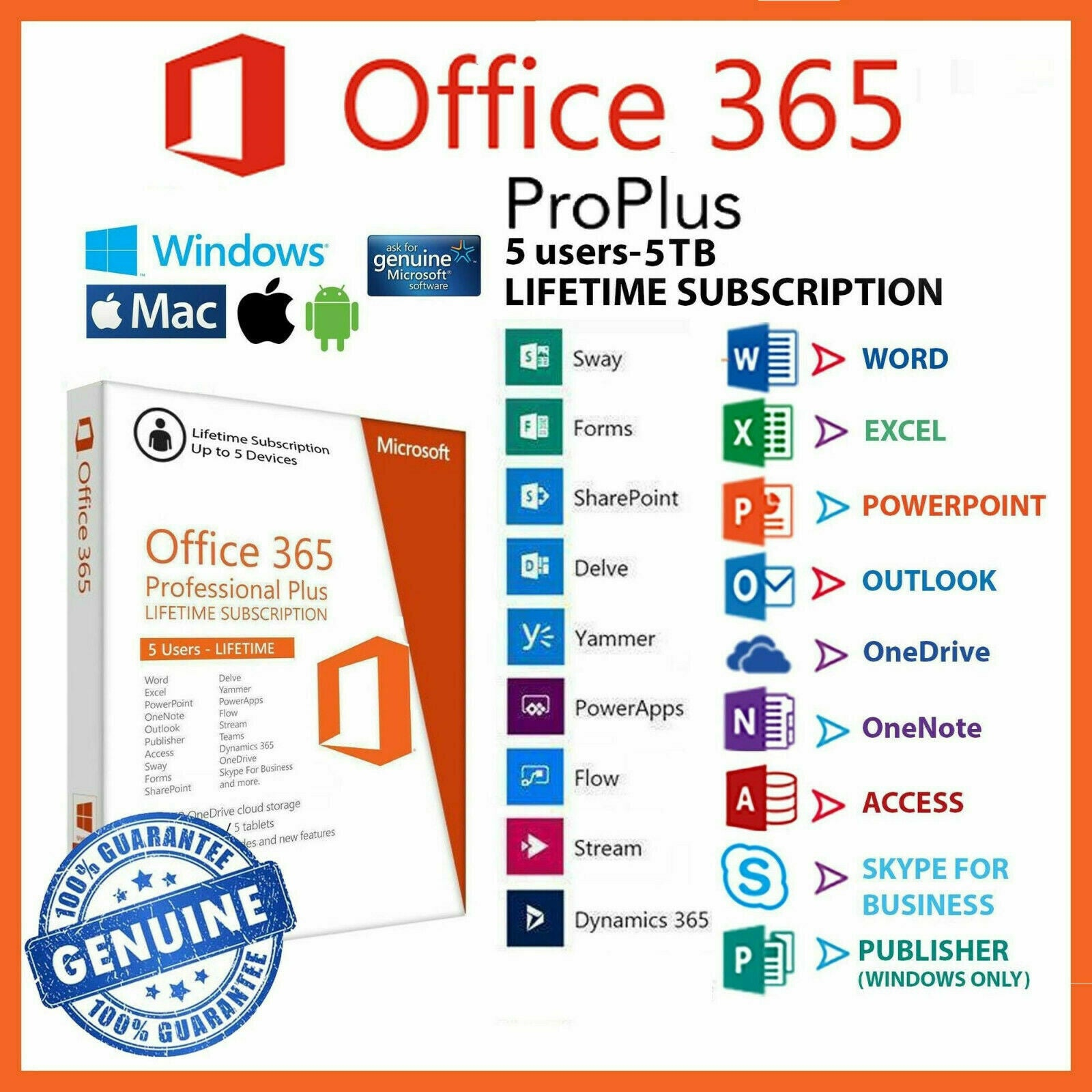 Microsoft office 365 2020 Pro Plus Lifetime account 5 Devices-Mac-Win-Mobile