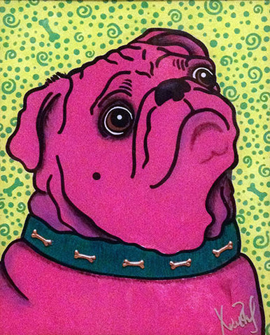 Prayerful Pink Pug 8x10