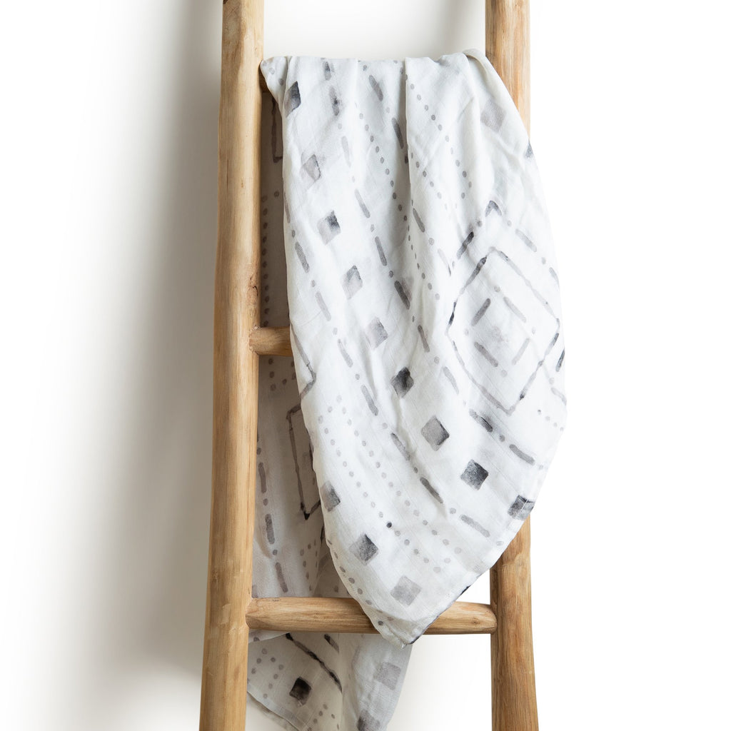 Aztec grey organic bamboo baby muslin swaddle wrap
