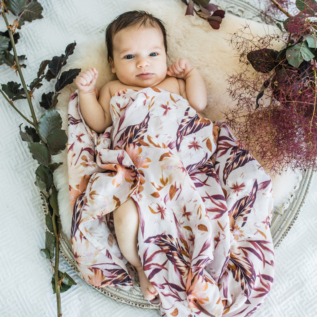 Floral pink organic bamboo baby muslin swaddle wrap
