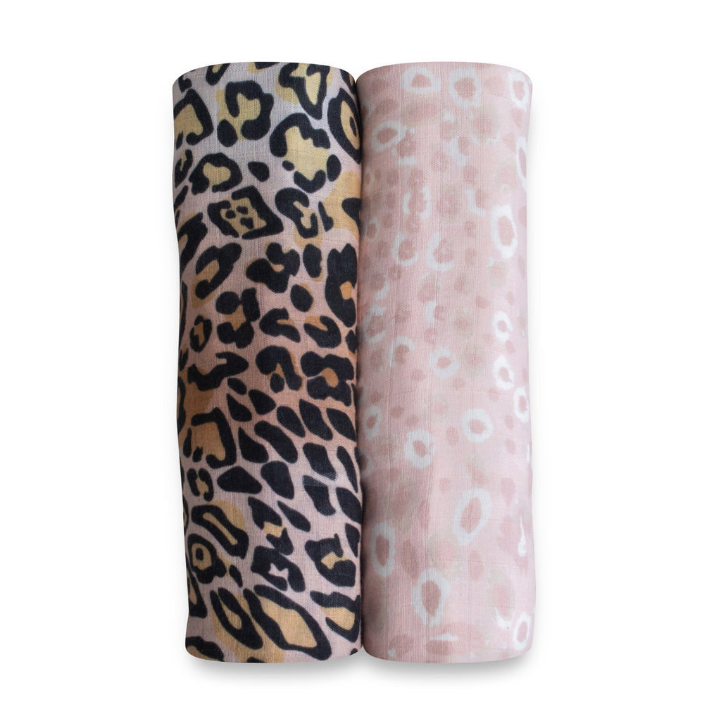 Leopard print organic bamboo baby muslin swaddle wrap