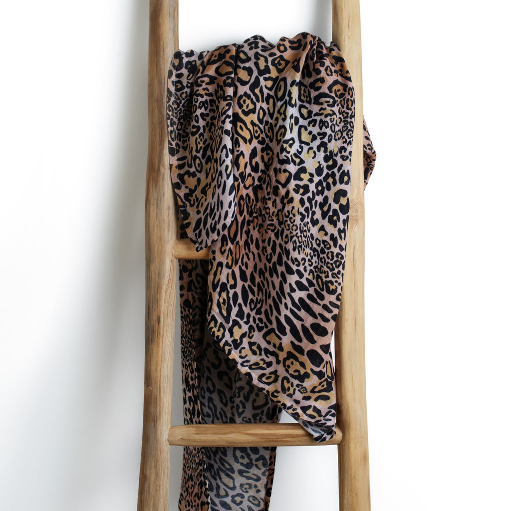 Leopard print black organic bamboo baby muslin swaddle wrap