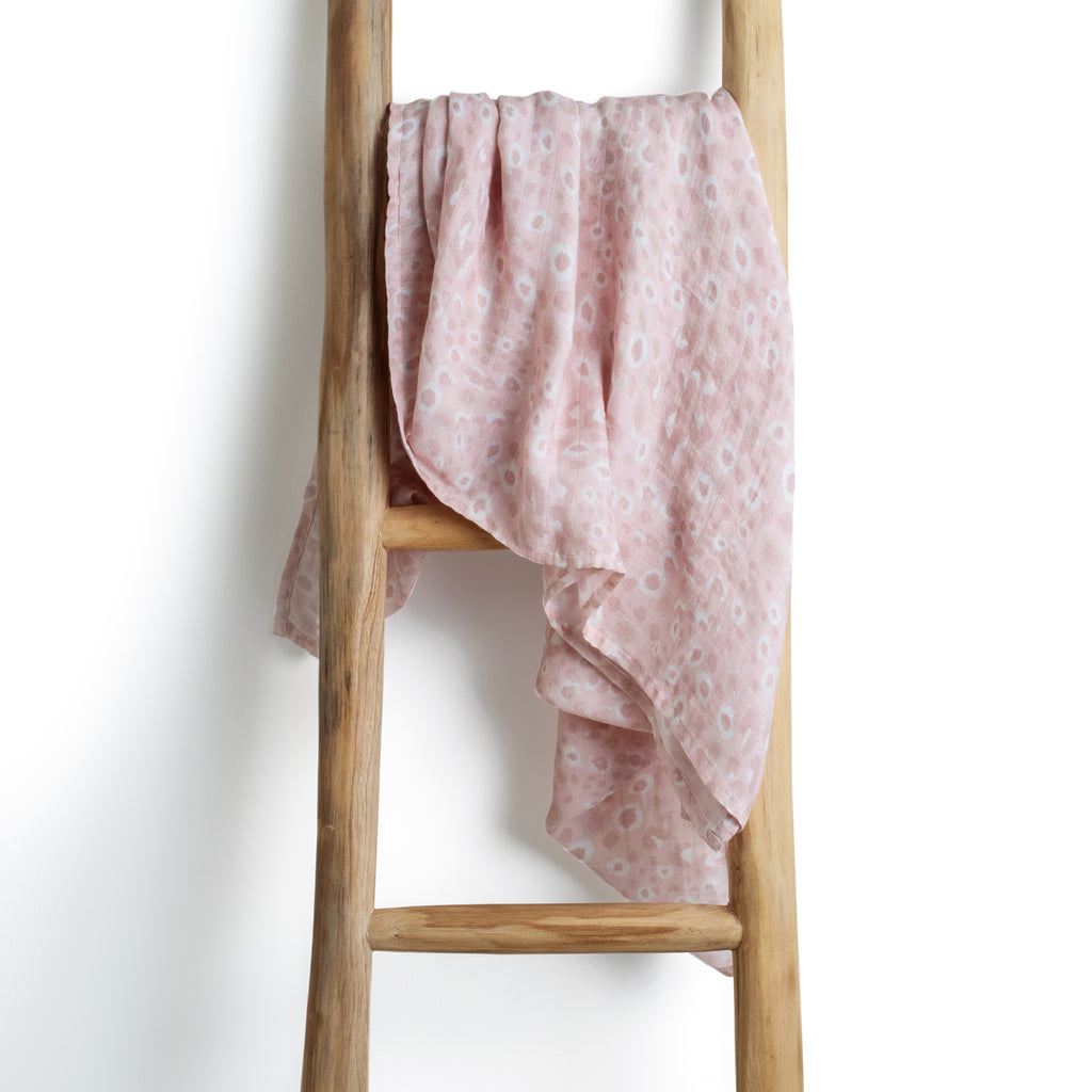 Leopard print pink organic bamboo baby muslin swaddle wrap