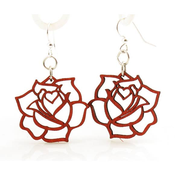 Red Rose Blossom Wood Earrings