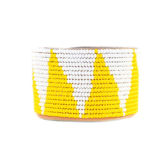 Beaded Yellow Tri Cuff, Wide