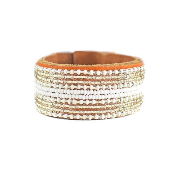 Beaded Silver Stripe Cuff, Medium