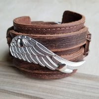 Winged Leather Cuff, Wide