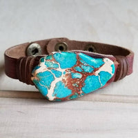 Regalite Jasper Slab Leather Cuff, Narrow