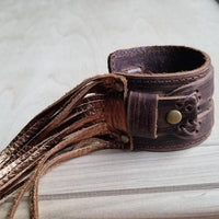 Bronze and Brown Leather Fringe Cuff