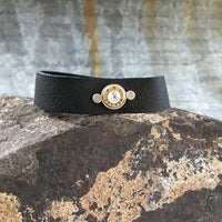 Bullet Black Leather Bracelet