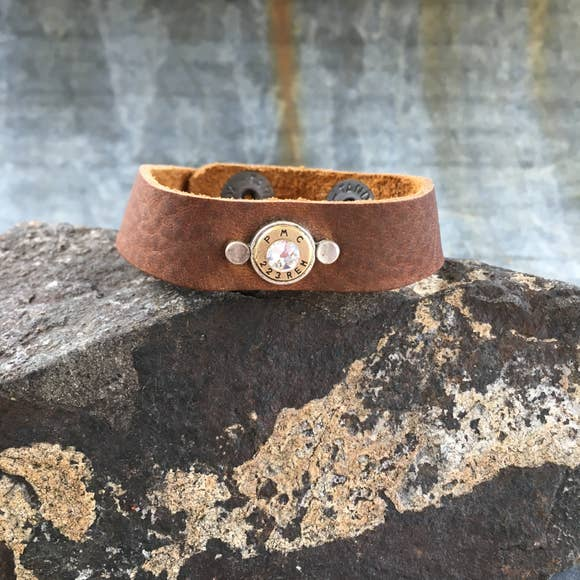 Bullet Brown Leather Bracelet