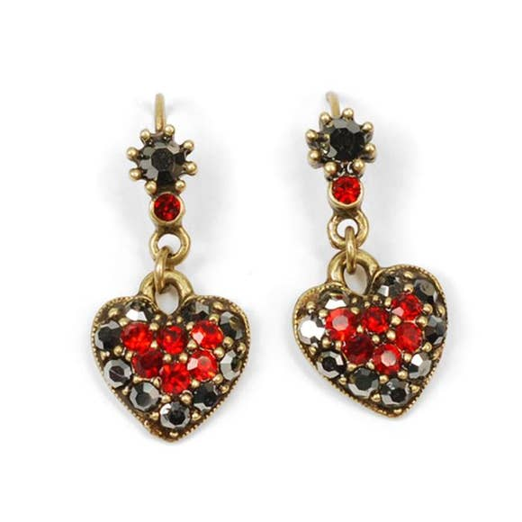 Red And Black Crystal Heart Earrings