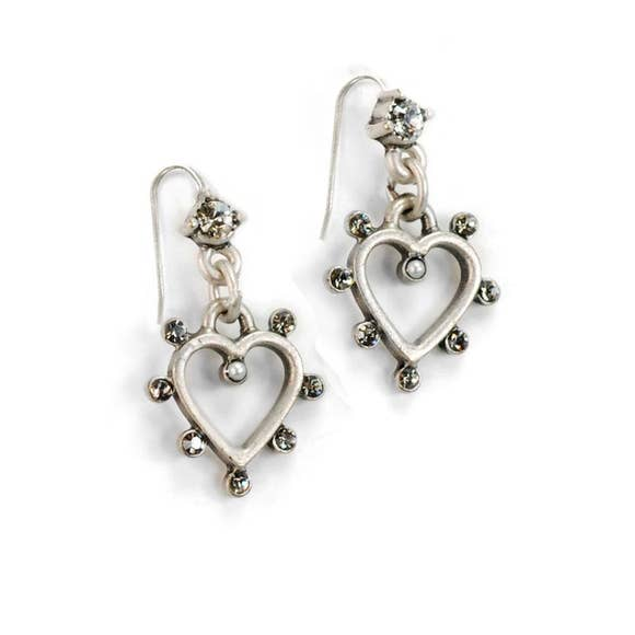 Crystal Open Heart Earrings