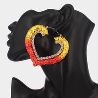 Red and Gold Crystal Bamboo Heart Hoops