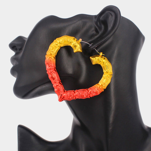Red and Gold Bamboo Heart Hoops