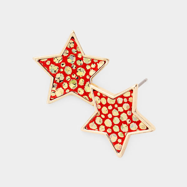 Red and Gold Star Earrings