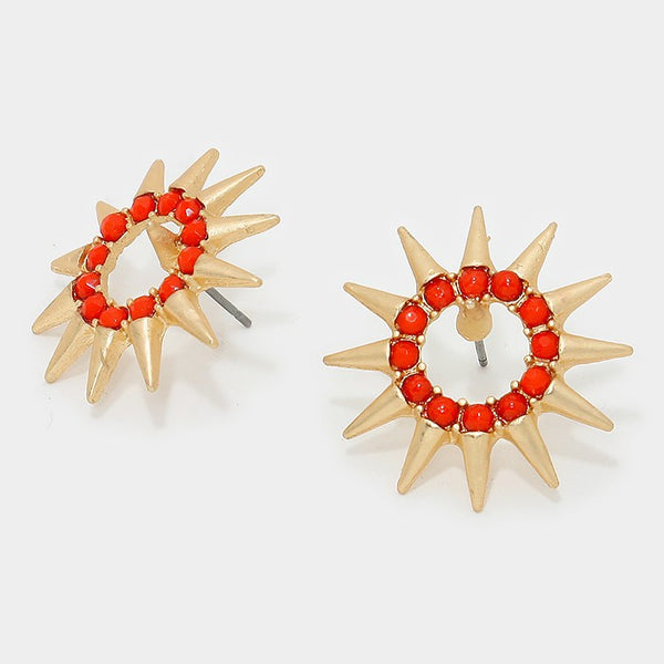 Red and Gold Starburst Earrings